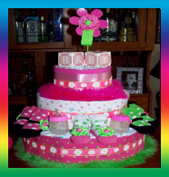 Pink and Green Dasiy Cake